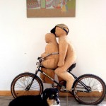 Carnival painting, bike sculpture and Jack - David Byrd home